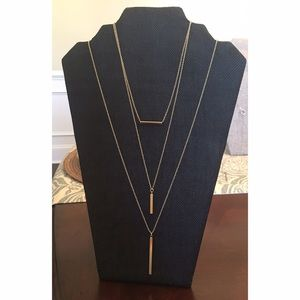 Jewelry - Three gold bar necklaces and faux diamond studs
