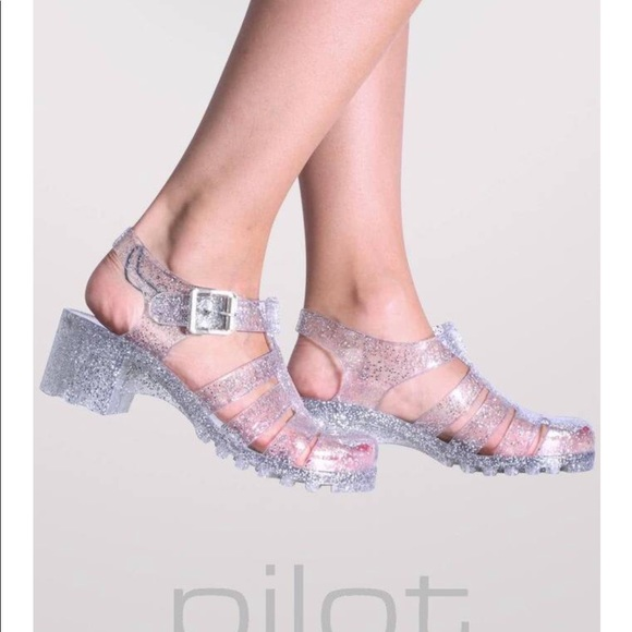 6d98cc32a7e Urban Outfitters Shoes | Clear Silver Glitter Jelly | Poshmark