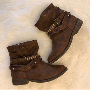 Justice Distressed Faux Leather Buckle Boots 3