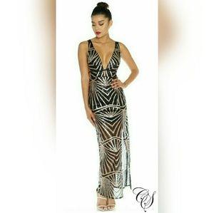 fbe4b886b586b Dresses & Skirts - Lanise Black Gold Geometric Sequin Maxi Dress