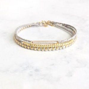 delicate gold nugget macrame friendship bracelet