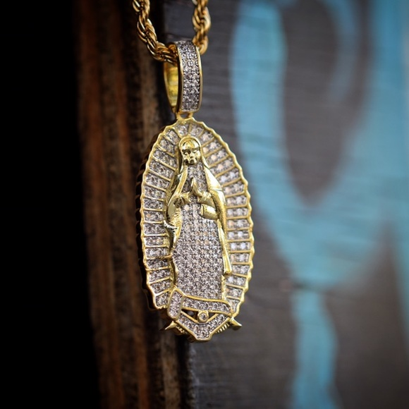 Tsv jewelers accessories gold lab diamond virgin mary pendant gold lab diamond virgin mary pendant necklace aloadofball Choice Image