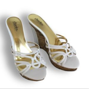 White cork wedge mules by Charles David size 8