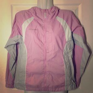 Columbia Sportswear Pink/White Rain Jacket 10/12