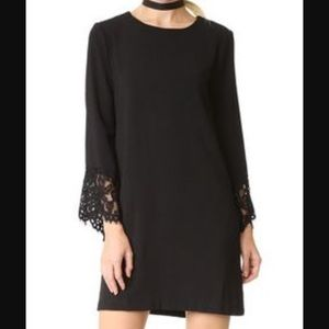{wayf} black dress with bell sleeves Lace trim