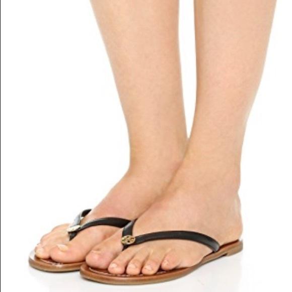 8a21ffdeeb63 Tory Burch Terra Sandals flip flops black Size 8.5.  M 59d566ce6a5830179c00258a