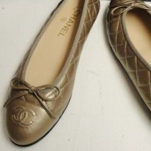 Authentic CHANEL quilted gold ballet flats