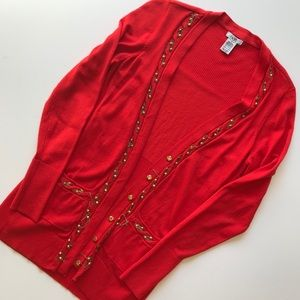 Cache Red Cardigan Open Front Gold Chain Button