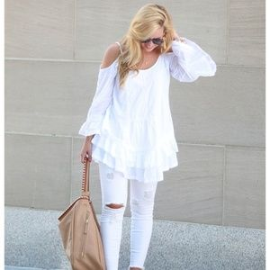 Band of Gypsies white off the shoulder ruffle top
