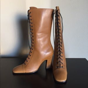 Prada Vintage Leather Boots; NEW!