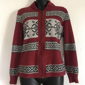 Tribal  print zip up sweater