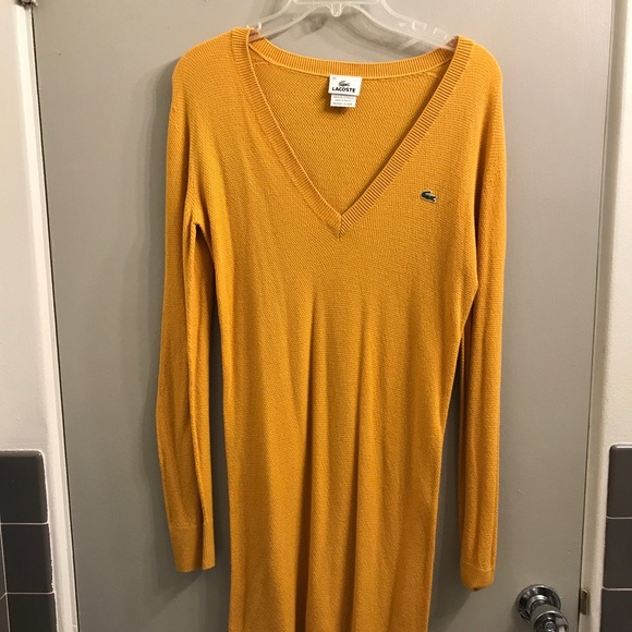 78% off Lacoste Dresses & Skirts - Lacoste mustard yellow sweater ...
