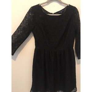 French Connection Black Lace LS Fit & Flare Dress