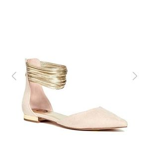 Guess ankle strap blush nude flats