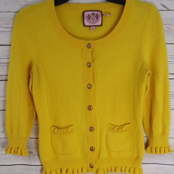 65% off Juicy Couture Sweaters - Juicy Couture Yellow Button Up ...