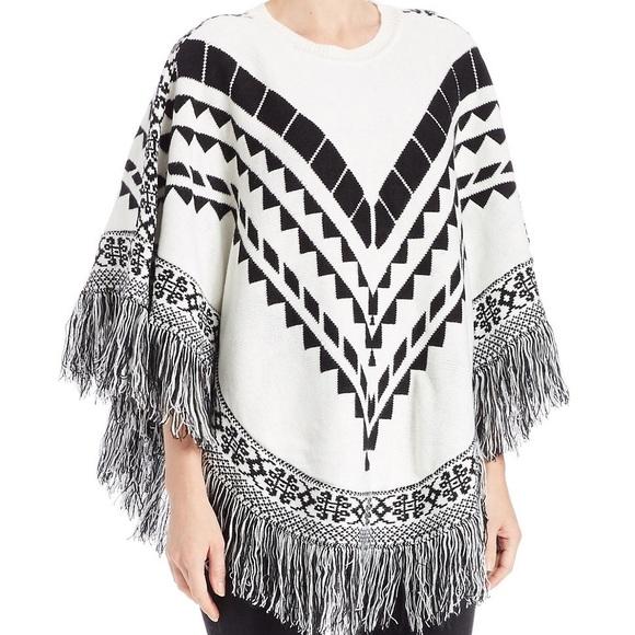 1cc9dff80 Kensie Sweaters | Ivory Combo Fringe Detail Poncho Sweater | Poshmark