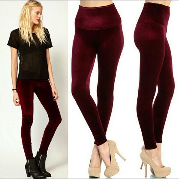 37be53767 Fashionomics Pants | Highwaisted Velvet Leggings Wine | Poshmark
