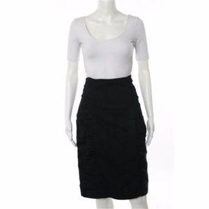 NANETTE LEPORE Black  Gathered Side Pencil Skirt