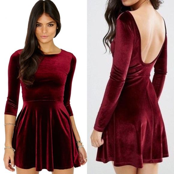 f42f8c3a32 American Apparel Dresses & Skirts - American apparel red velvet skater dress  size S