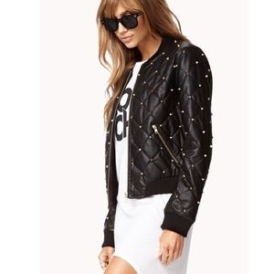 Jackets & Blazers - Leather style Bomber jacket with gold spikes