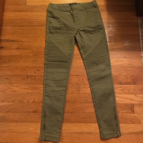0b859d94c19 Shinestar Pants | Shine Star Olive Green Moto Jeggings | Poshmark