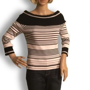 Black and white striped boat neck sweater Cyrus