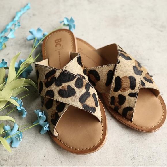 a80eda9f5eae0 BC Footwear Shoes - BC Leopard Print Calf Hair Cross Slides 7 EUC