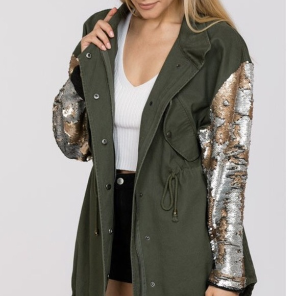 Green parka jacket with gold sequin sleeves