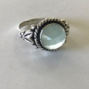 Jewelry - Sterling plated pale aqua chalcedony ring 6