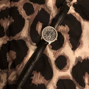 Black Leather Band Guess Watch with Rhinestones