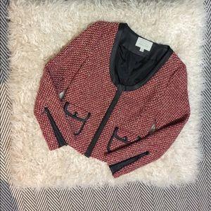 Hinge faux leather trimmed wool tweed jacket