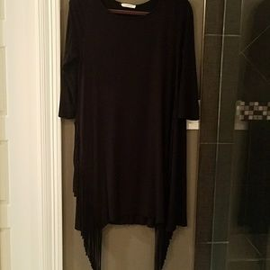 Black Knit dress with fringe