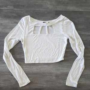 White Chest Caged Leslie Cropped Long Sleeve