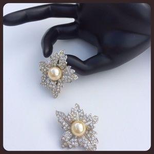 Vintage Pearl & Crystal KJL Flower Earrings
