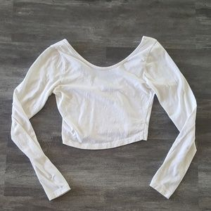 White Scoop Melville Cropped Long Sleeve