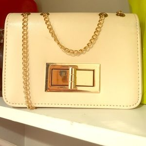 Cream Gold Shoulder Bag