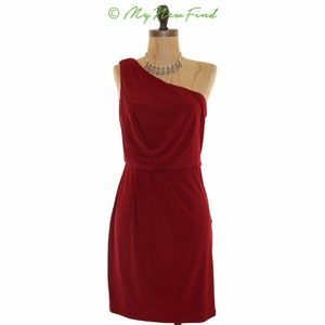 ADRIANNA PAPELL ONE SHOULDER  BLOUSON RED DRESS