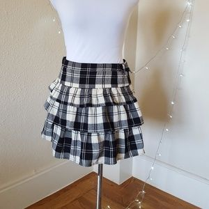Theory Onella Plaid Virgin Wool Tiered Skirt