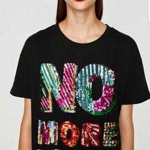 326d339797c Zara Tops | No More Drama Sequin Tshirt Black | Poshmark