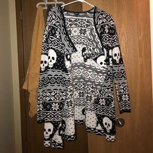 Skull Open-Front Cardigan