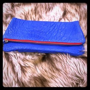 Clare V leather fold-over clutch Royal Blue Gorg