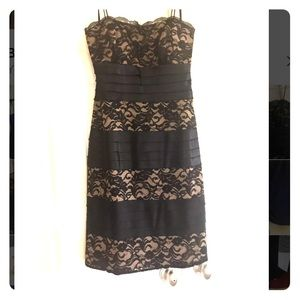 Dresses & Skirts - Black lace, tan lining dress with spaghetti strap
