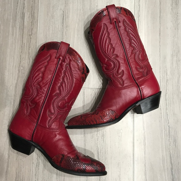 f58a774d655 Abilene Cowboy Boots Red Leather Snake 10 Python