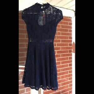 CITY TRIANGLES BLUE LACE DRESS