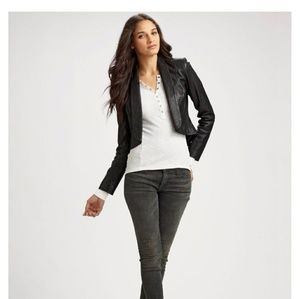 7 for all mankind leather cropped blazer jacket