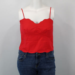 Anthro Raspberry Scalloped Crop Top - 12, 14, 16