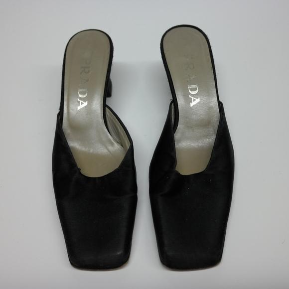 06ef5eaccbf5 Prada Black Satin Square Toe Mule Heels. M 59d5b0b3ea3f36186700dc86