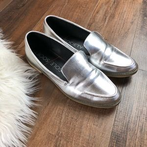 Sole Society HIPP Silver Slip On Loafers