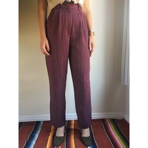 Vintage✨burgundy striped trouser