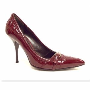 BURBERRY Dark Red Quilted Patent Leather Pump 37